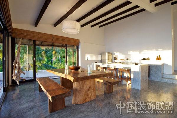 现代泰式风格海滩别墅 餐厅装修效果图高清图片