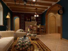 地中海蓝色调装修风格地中海客厅装修图片