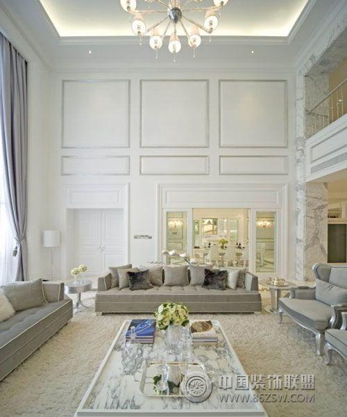 富家美女的纯色顶级奢华别墅 客厅装修效果图