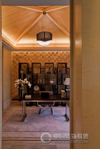 新中式范别墅样板房 书房装修效果图