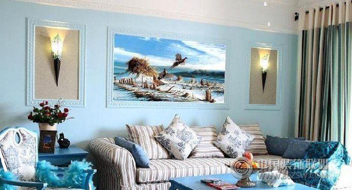 163平米乡村蓝色土耳其家居 客厅装修图片