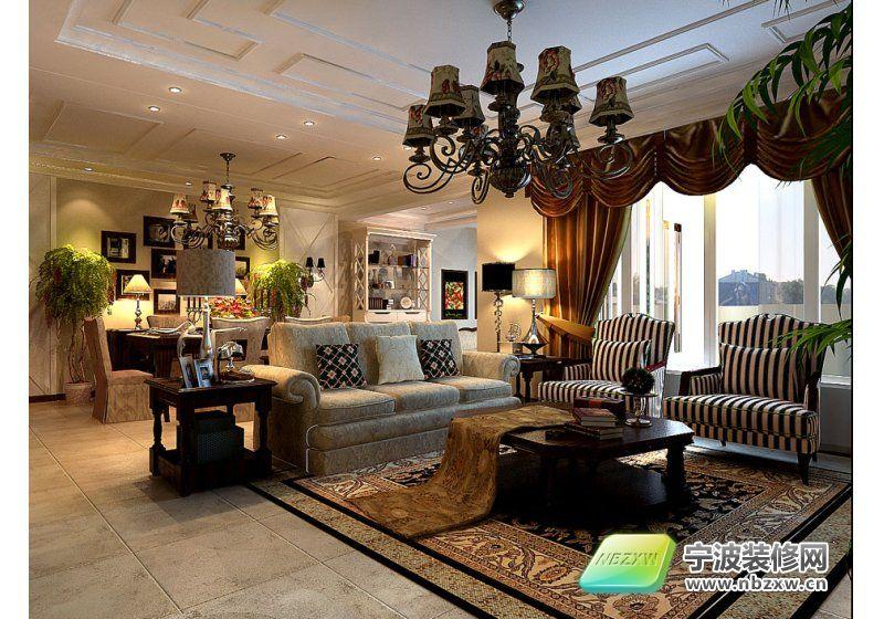 美式别墅 客厅装修效果图