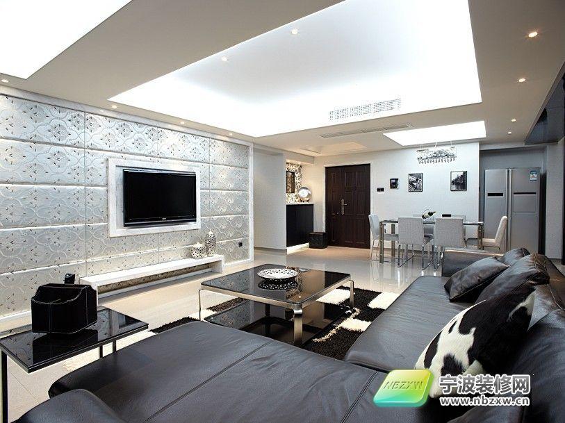 140平黑白灰现代时尚居 客厅装修效果图 宁波