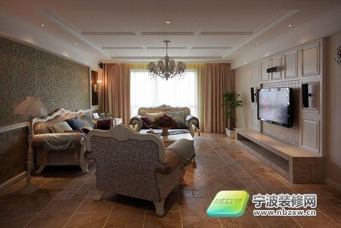 145平豪华新古典式样板房 客厅装修效果图 宁波装修
