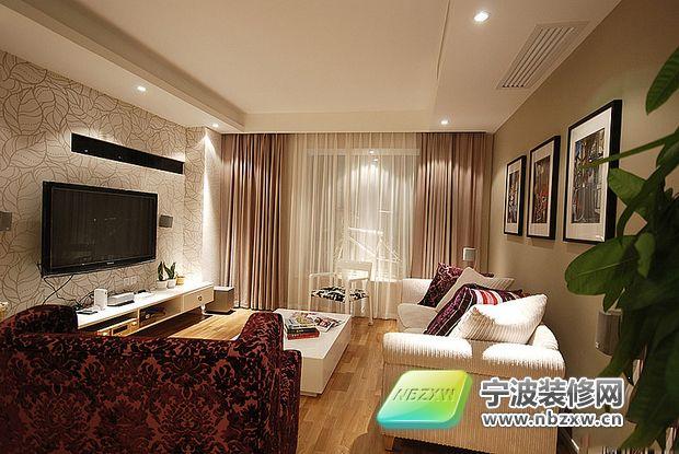 60平两室一厅白色小户型-客厅装修效果图-宁波装修网