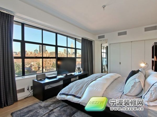 纽约现代时尚屋顶公寓 卧室装修图片