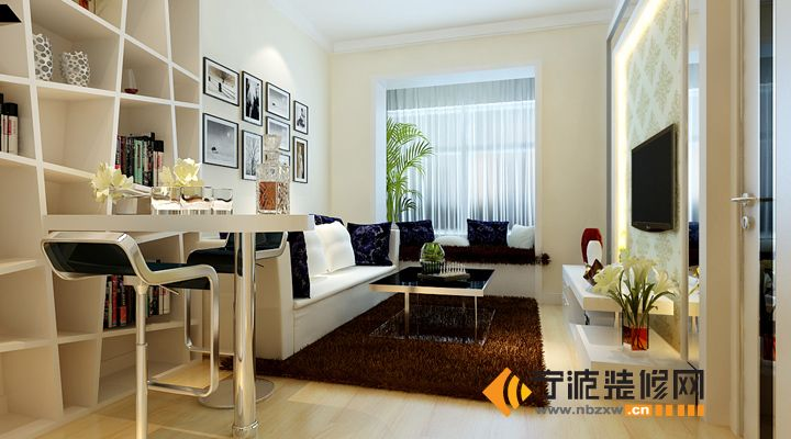 46 平米 黑白灰经典蜗居 客厅 装修效果图 宁波装