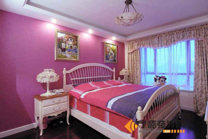 102平米欧式奢华田园风-卧室装修效果图-宁波装修网