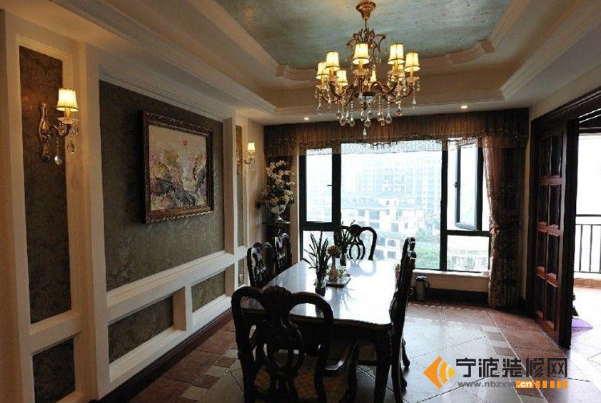 三居155平新古典风格家居餐厅餐桌灯具吊顶装修效果图