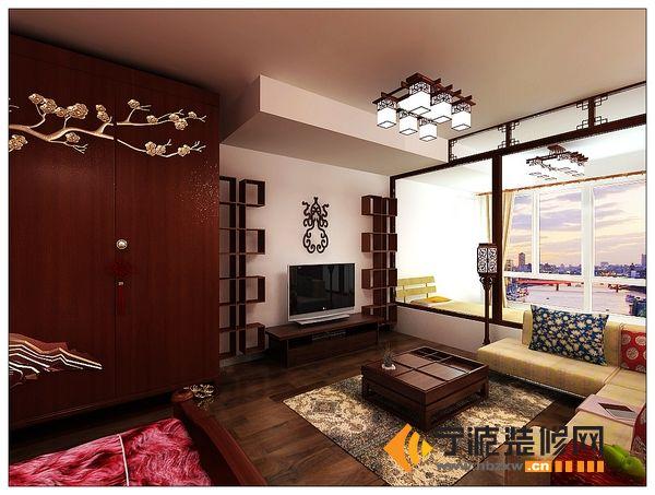 85平简约中式温馨家 客厅装修图片