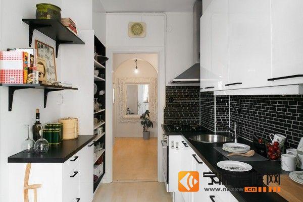 56平米现代简约公寓 厨房装修效果图