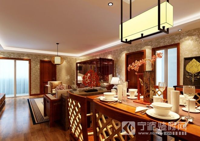 120平米东南亚风格 餐厅装修图片