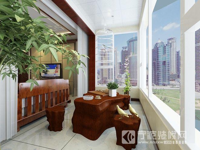 136平新中式精美公寓 阳台装修效果图 -136平新中式精美公寓 阳台装高清图片