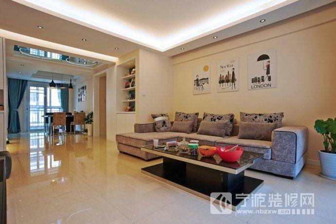 128平现代时尚婚房 客厅装修图片