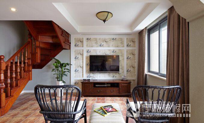 148平简约美式复式家 客厅装修图片高清图片