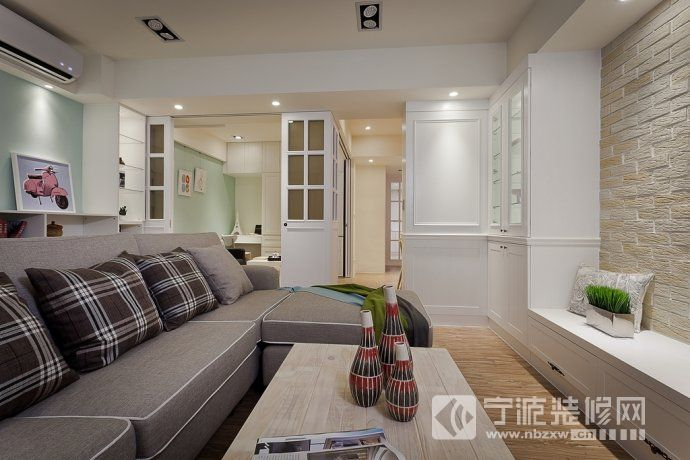 103平美式乡村清新美家 客厅装修图片
