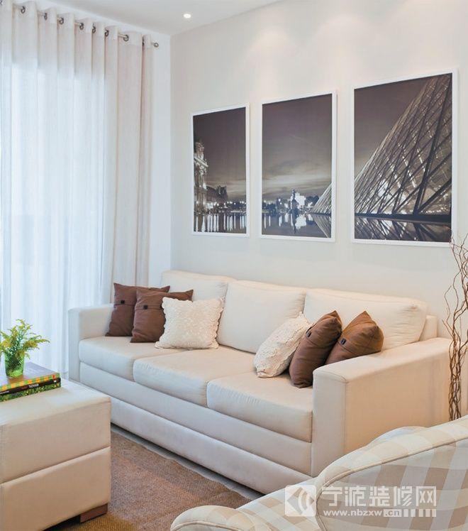 70平米清新一居室 客厅装修图片