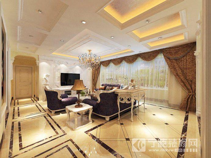 28平欧式时尚婚房 客厅装修图片