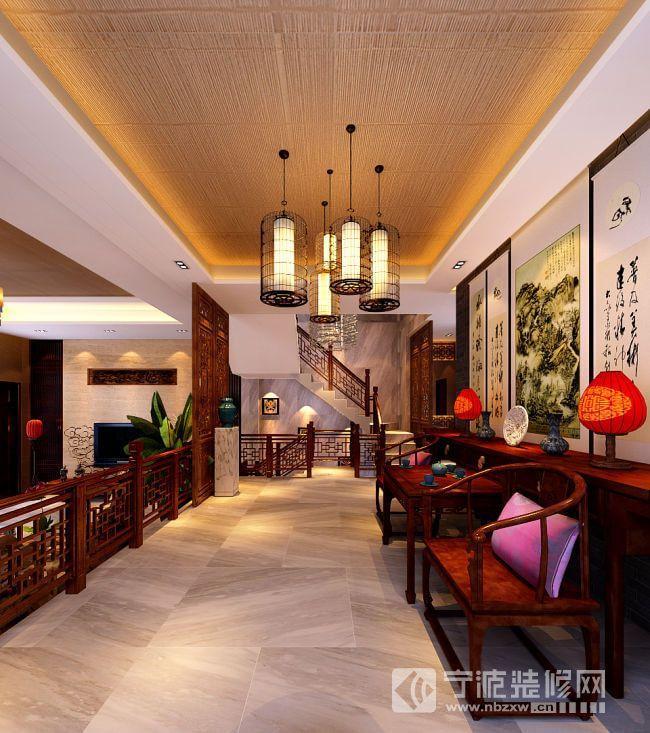 90平米新中式别墅设计案例欣赏 阁楼装修效果图