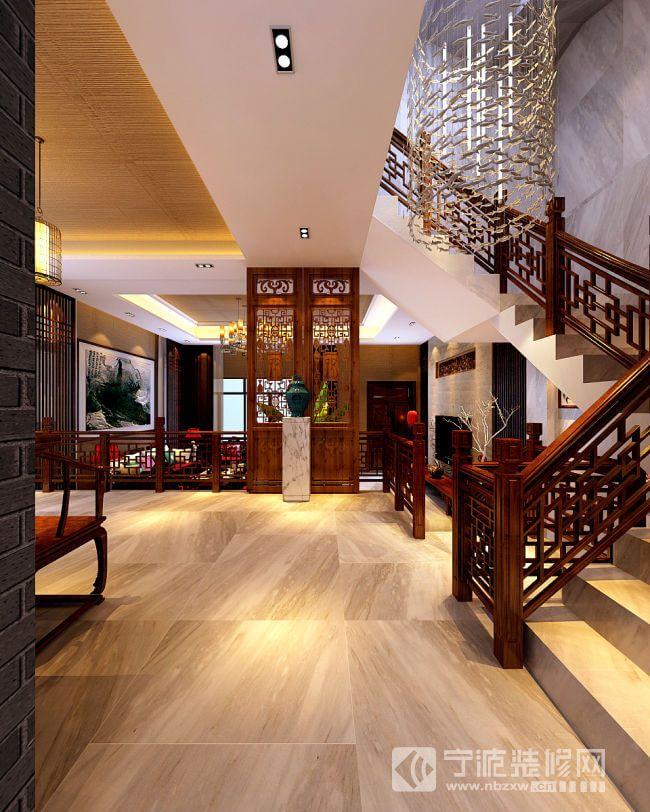 190平米新中式别墅设计案例欣赏 过道装修效果图 -190平米新中式别墅高清图片