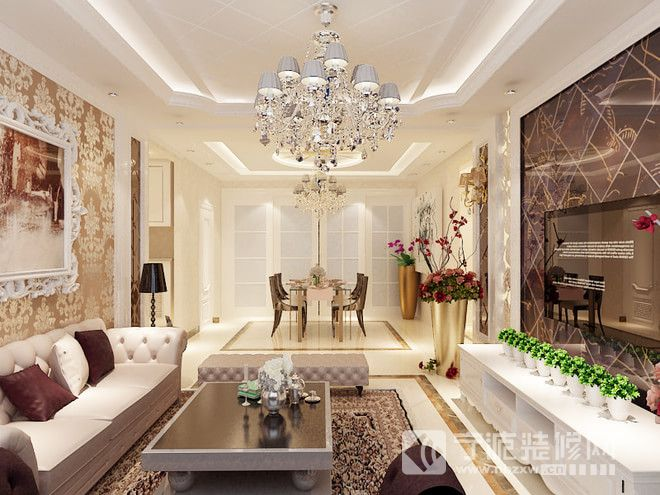 135平米欧式三居效果图 客厅装修图片