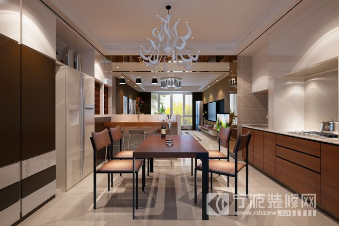 137平现代大气公寓设计 餐厅装修效果图