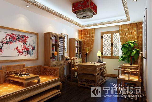 新中式风格四合院设计 书房装修效果图 -新中式风格四合院设计 书房装