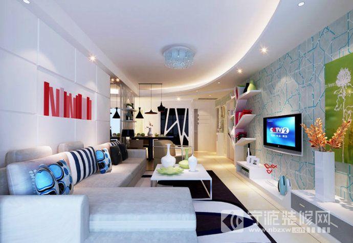 简约欧式风格三居样板间 客厅装修图片