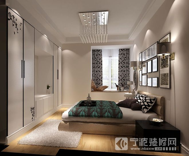 60平一居现代风装修效果图 卧室装修图片
