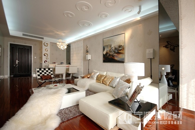 94平米现代风格二居室设计图片 客厅装修图片
