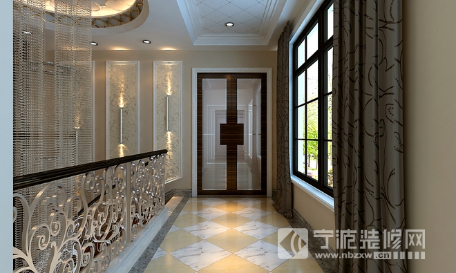 0平自建房演绎新中式简欧风装修图片 过道装修效果图 -600平自建房