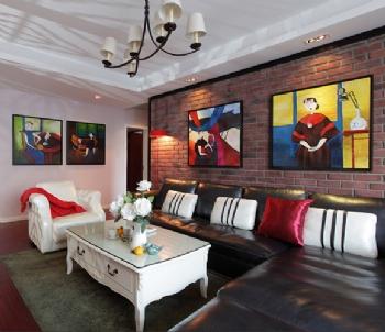 金地国际花园3居室混搭风格装修效果图