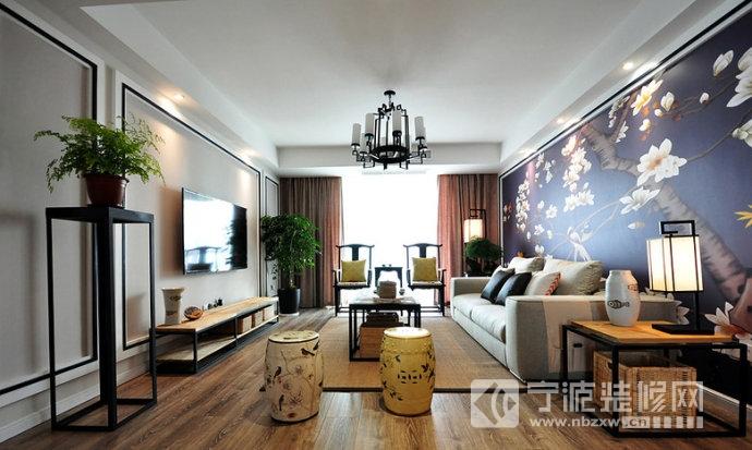145平新中式超大手绘沙发背景墙设计 客厅装修图片