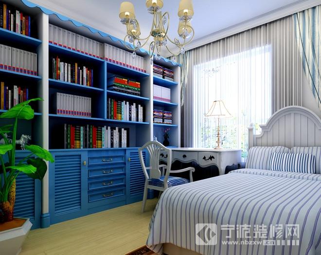 80平二居地中海风装修效果图 卧室装修图片
