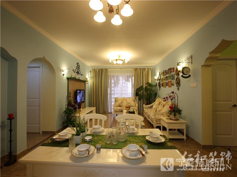 118平三室两厅一卫田园装修实景照 客厅装修图片高清图片