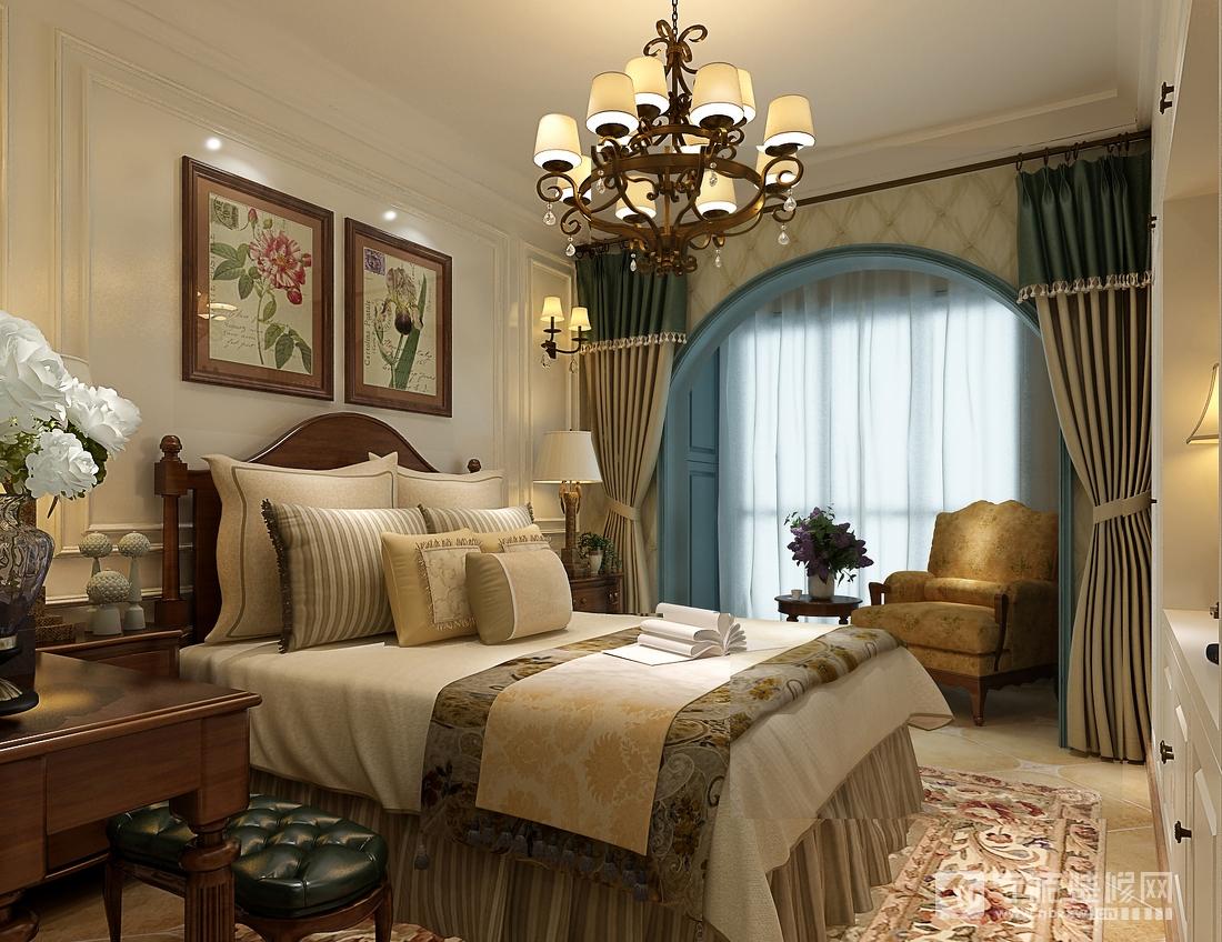 地中海味道的英式小乡村 卧室装修效果图
