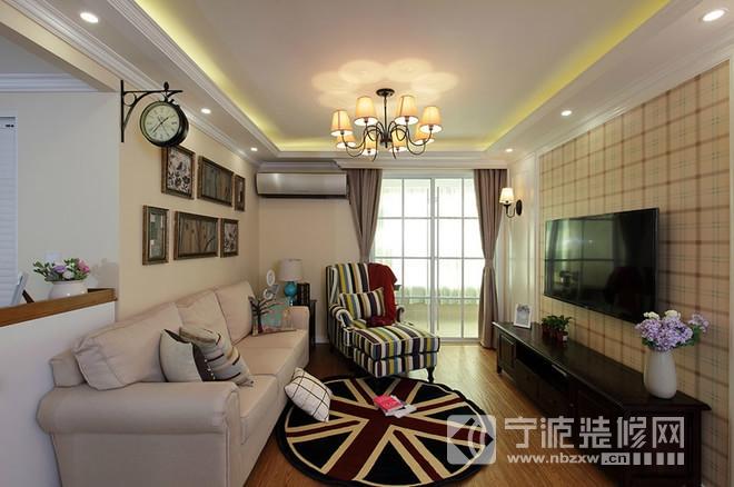 103平婚房条纹新中式装修效果图高清图片