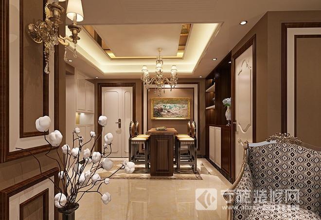 93平二居欧式古典风装修效果图 餐厅装修图片高清图片