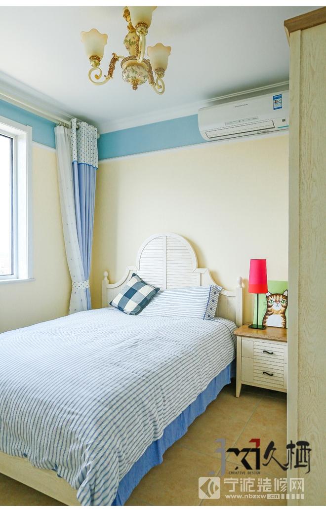 95平三居室温暖田园风装修效果图 卧室装修效果图