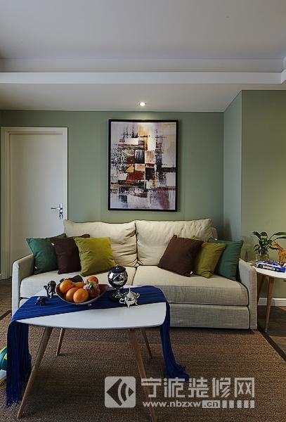 90平现代简约三室二厅案例 客厅装修图片