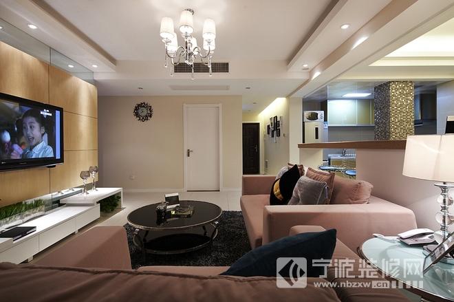95平米现代简约两房改三房 客厅装修图片
