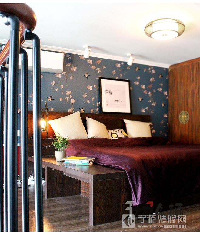 新中式风格俏丽婚房设计 卧室装修效果图高清图片