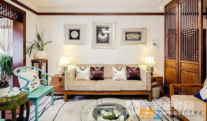 中式三居室客厅装修效果图