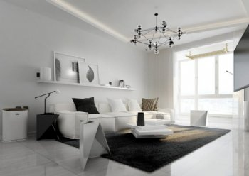光影穿梭 白色简约客厅设计